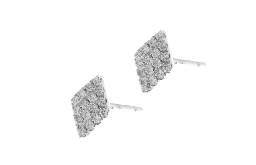 18ct White Gold Diamond Cluster Stud Earrings with push backs (E42686-2)