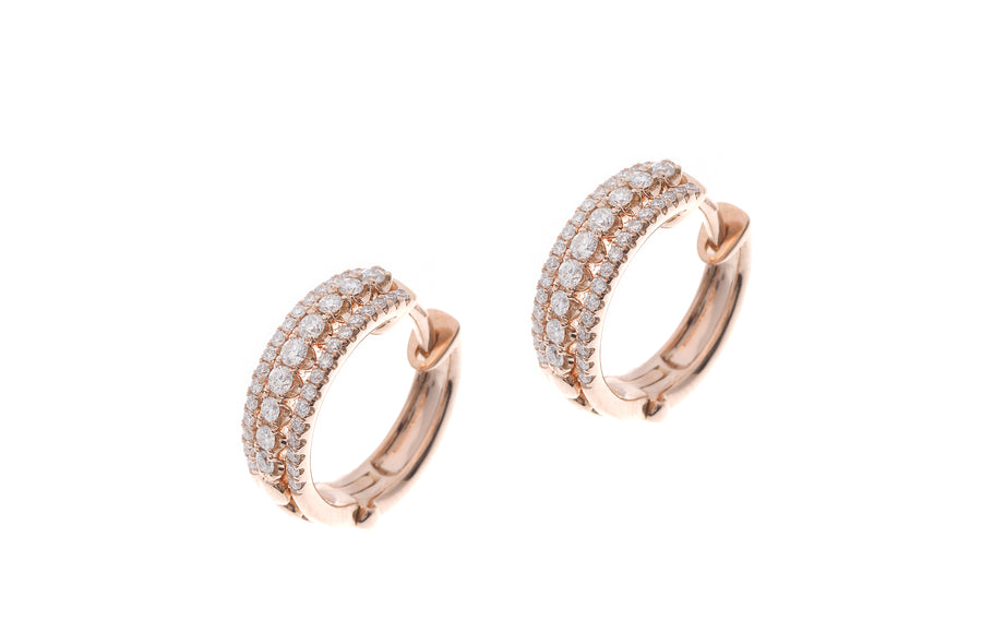 18ct Rose Gold 0.48ct Diamond Hoop Earrings (E42817-3001)