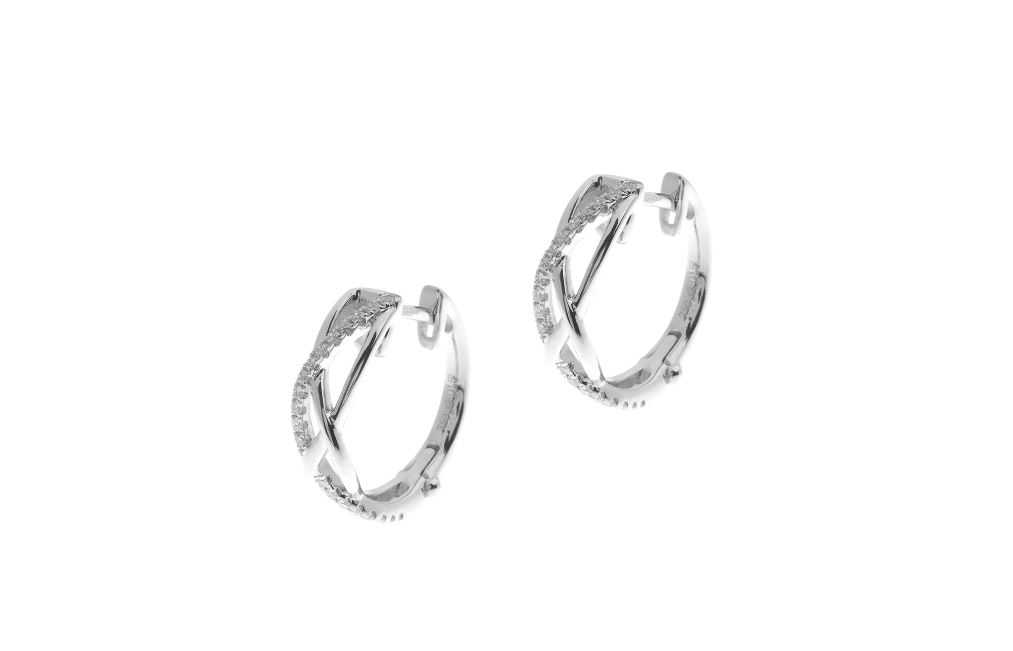18ct White Gold 0.15ct Diamond Hoop Earrings (E43114-5)