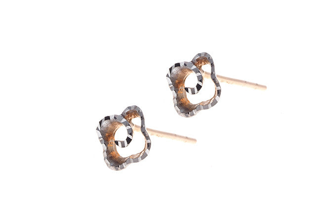 18ct Rose & White Gold Stud Earrings (C1241)