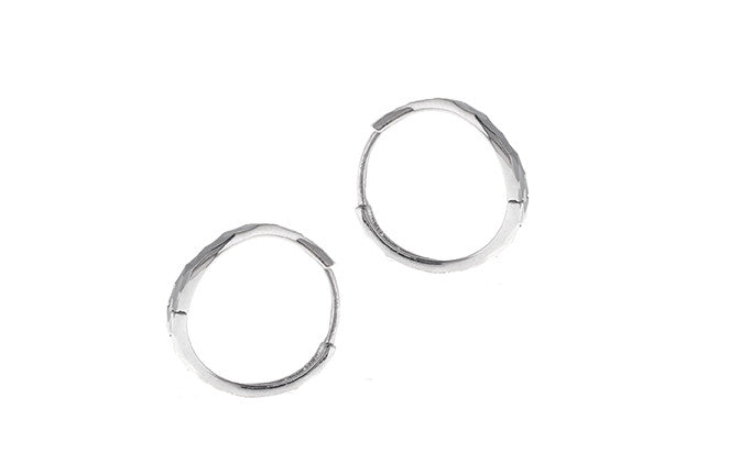 18ct White Gold Hoop Earrings (C1342-WW)