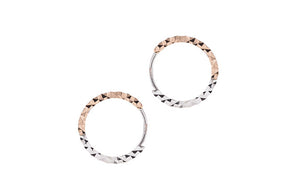 18ct White & Rose Gold Diamond Cut Hoop Earrings (C1409-RW)