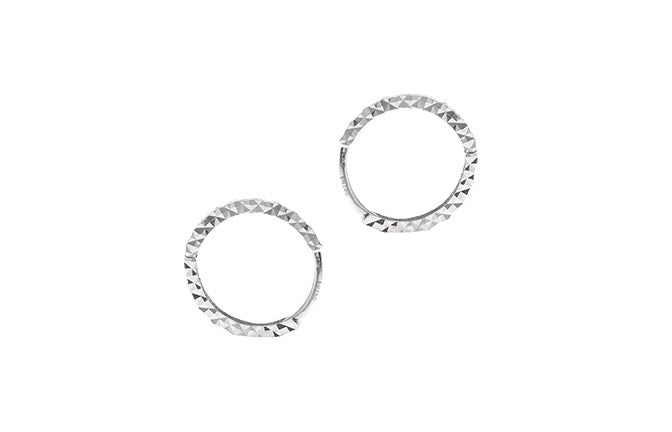 18ct White Gold Hoop Earrings (C1411-WW)