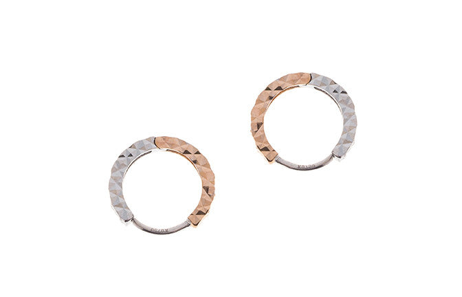 18ct White & Rose Gold Hoop Earrings (C1412-RW)
