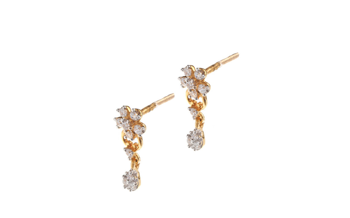 22ct Yellow Gold Cubic Zirconia Stud & Drop Earrings (ET0000) (online price only)