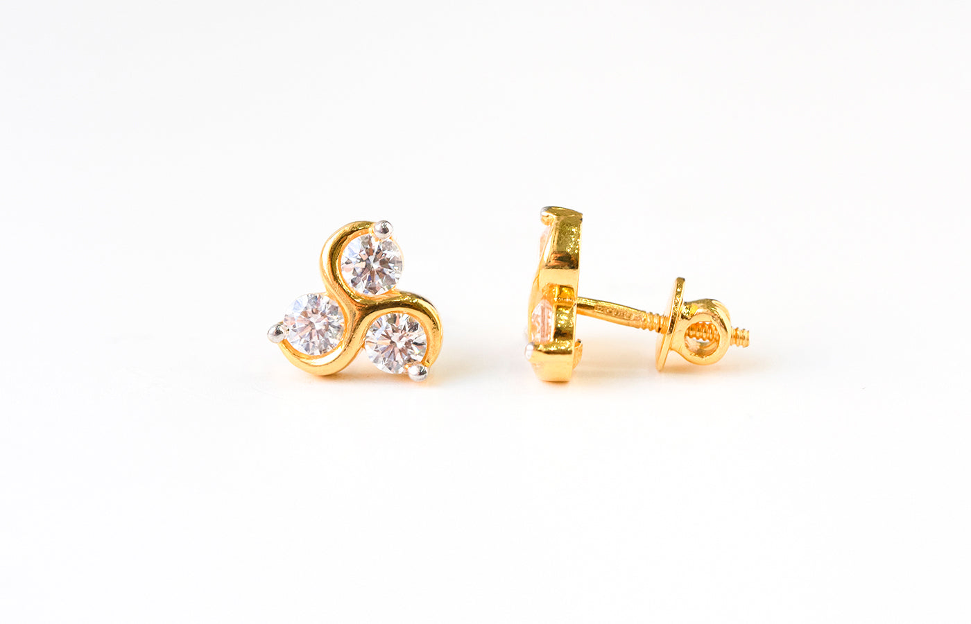 22ct Gold Stud Earrings set with Swarovski Zirconias (3.17g) ET10193