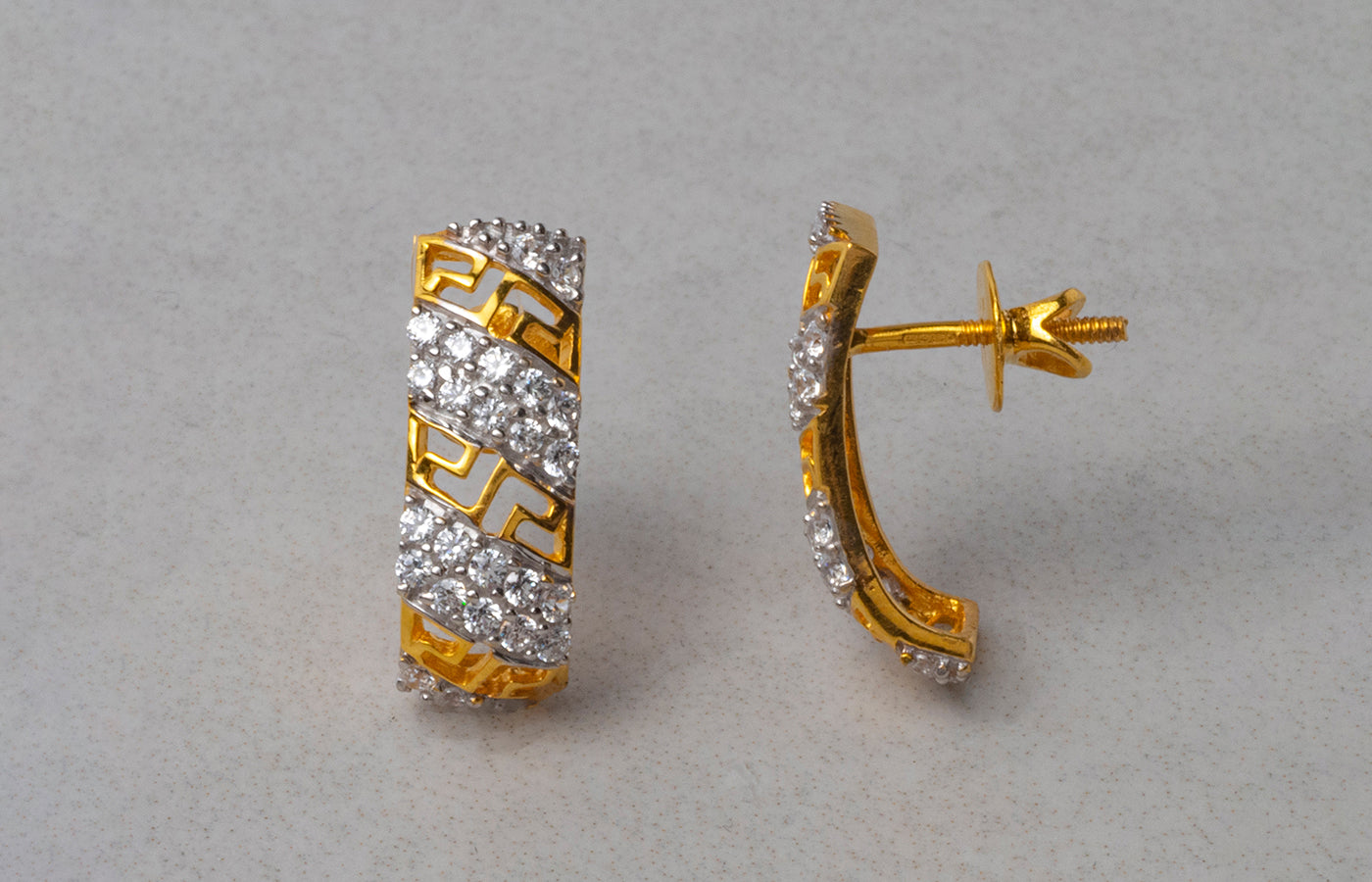 22ct Gold Cuff Style Stud Earrings set with Swarovski Zirconias (4.56g) ET10220