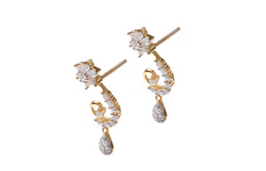 22ct Gold Cubic Zirconia 'Peacock' Design Drop Earrings (4.64g) (ET11017)