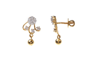 22ct Gold Cubic Zirconia Drop Earrings (3.57g) (ET11019)