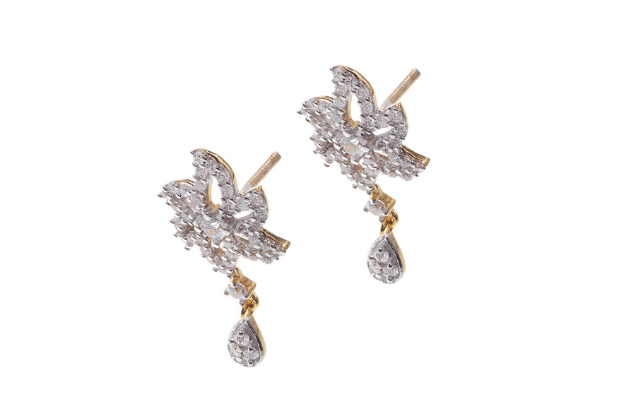 22ct Gold Cubic Zirconia Drop Earrings (5.02g) (ET11022)