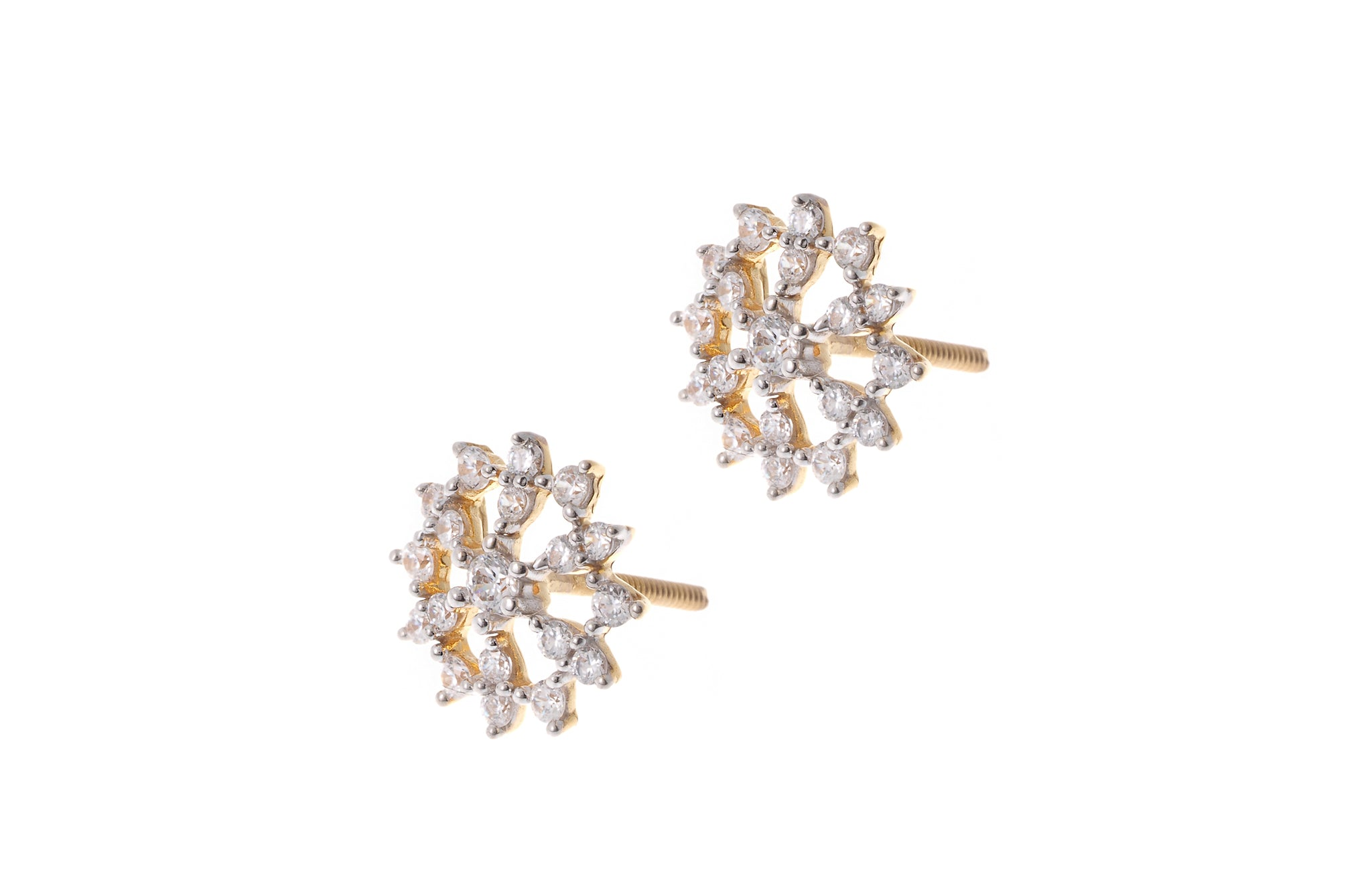 Gold Cubic Zirconia Stud Earrings ET11041