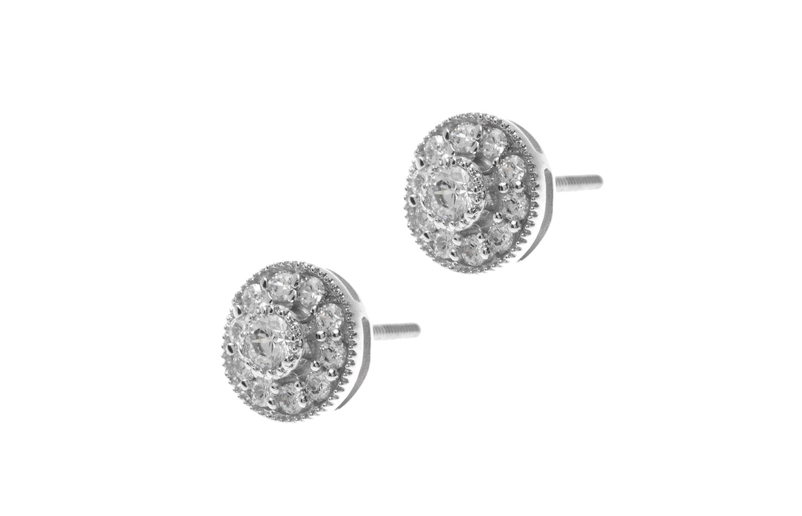 18ct White Gold Earrings set with Cubic Zirconia stones (ET11161)