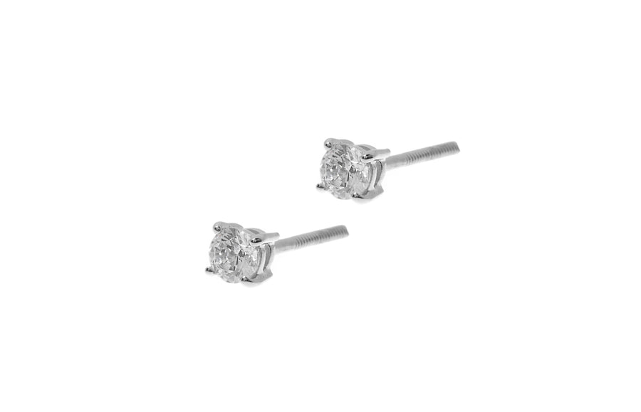 18ct White Gold Earrings set with Cubic Zirconia stones (1.40g) (ET12132)