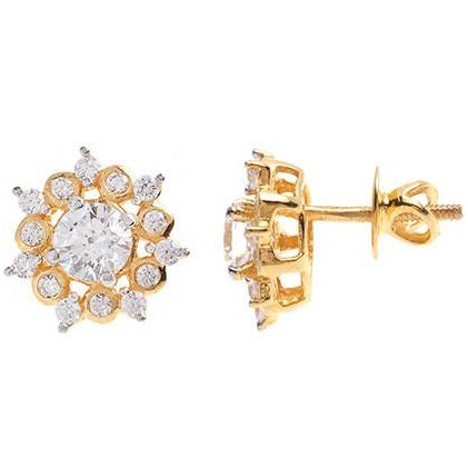 22ct Gold Swarovksi Zirconia Stud Earrings (4.15g) ET1284