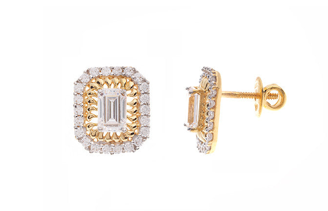 22ct Yellow Gold & Cubic Zirconia Stud Earrings (4.77g) ET1308
