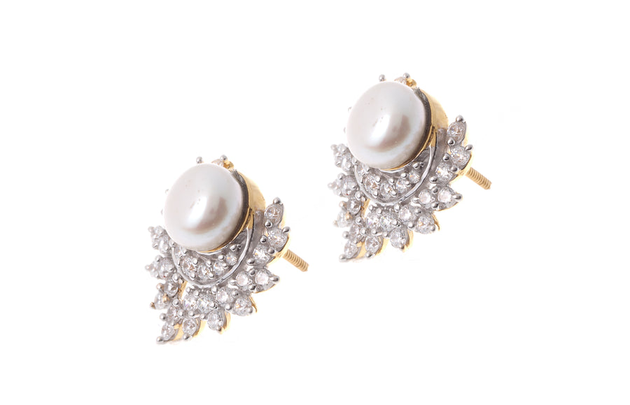 22ct Gold Cubic Zirconia and Cultured Pearl Stud Earrings (8.46g) (ET13095)
