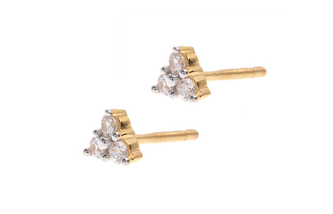 22ct Gold Triangular Stud Earrings set with Swarovski Zirconias (1.62g) ET13197