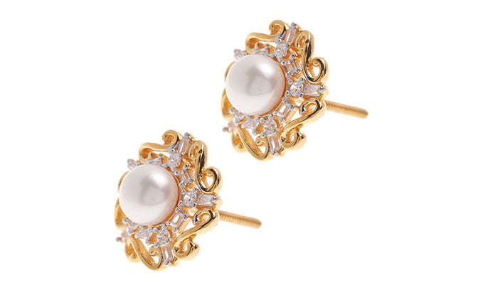22ct Gold Swarovski Zirconia & Cultured Pearl Stud Earrings (5.27g) ET1335