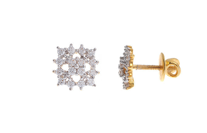 22ct Yellow Gold Earrings set with Cubic Zirconia stones (3.21g) (ET14074)