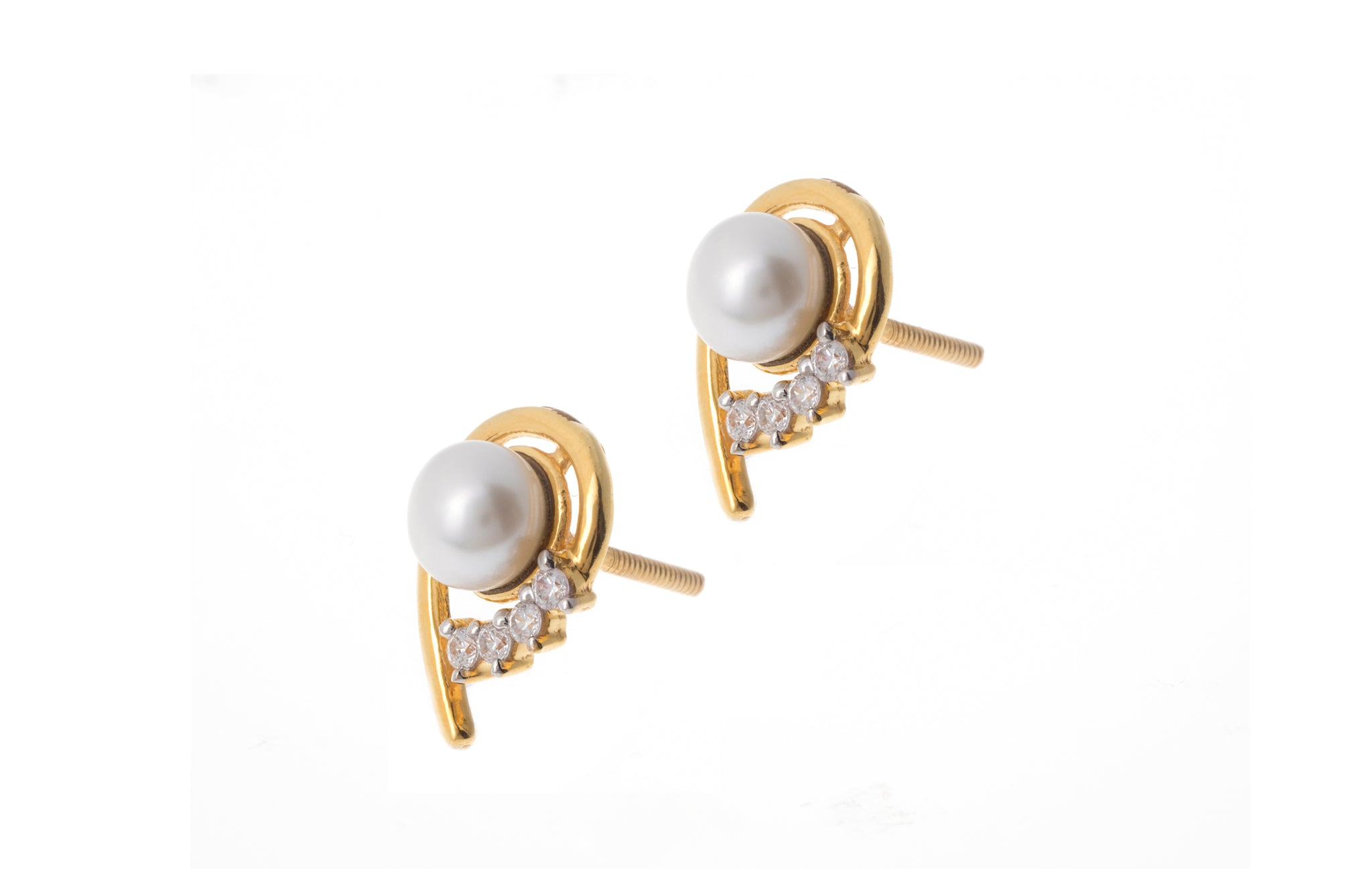 22ct Gold Cubic Zirconia and Cultured Pearl Stud Earrings (3.82g) ET14199