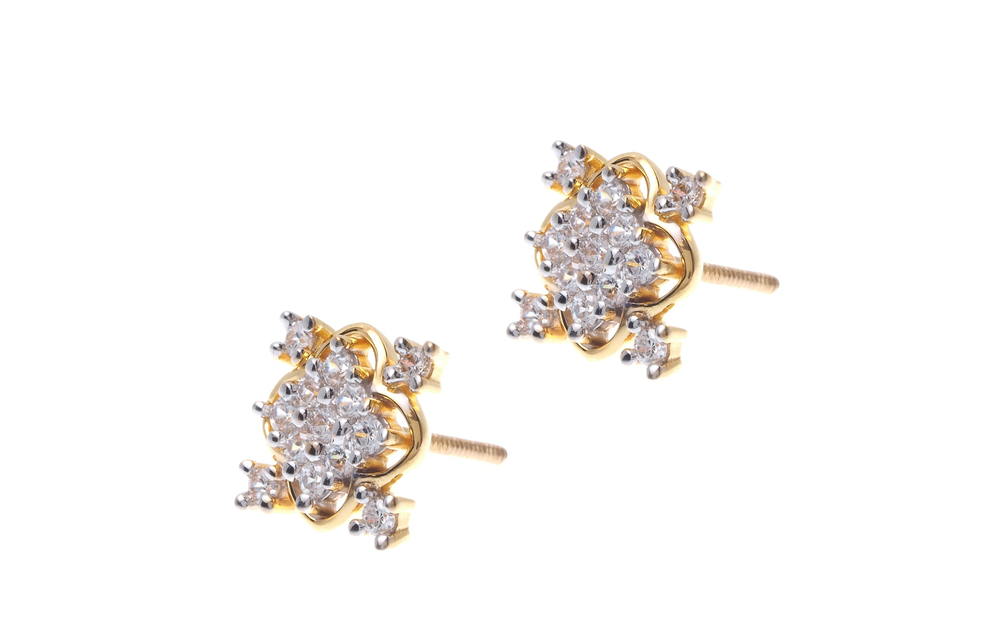 floral products girls studs beloved daily cut fashion round faux cubic flower silver earrings emelle stone cz zirconia diamond stud