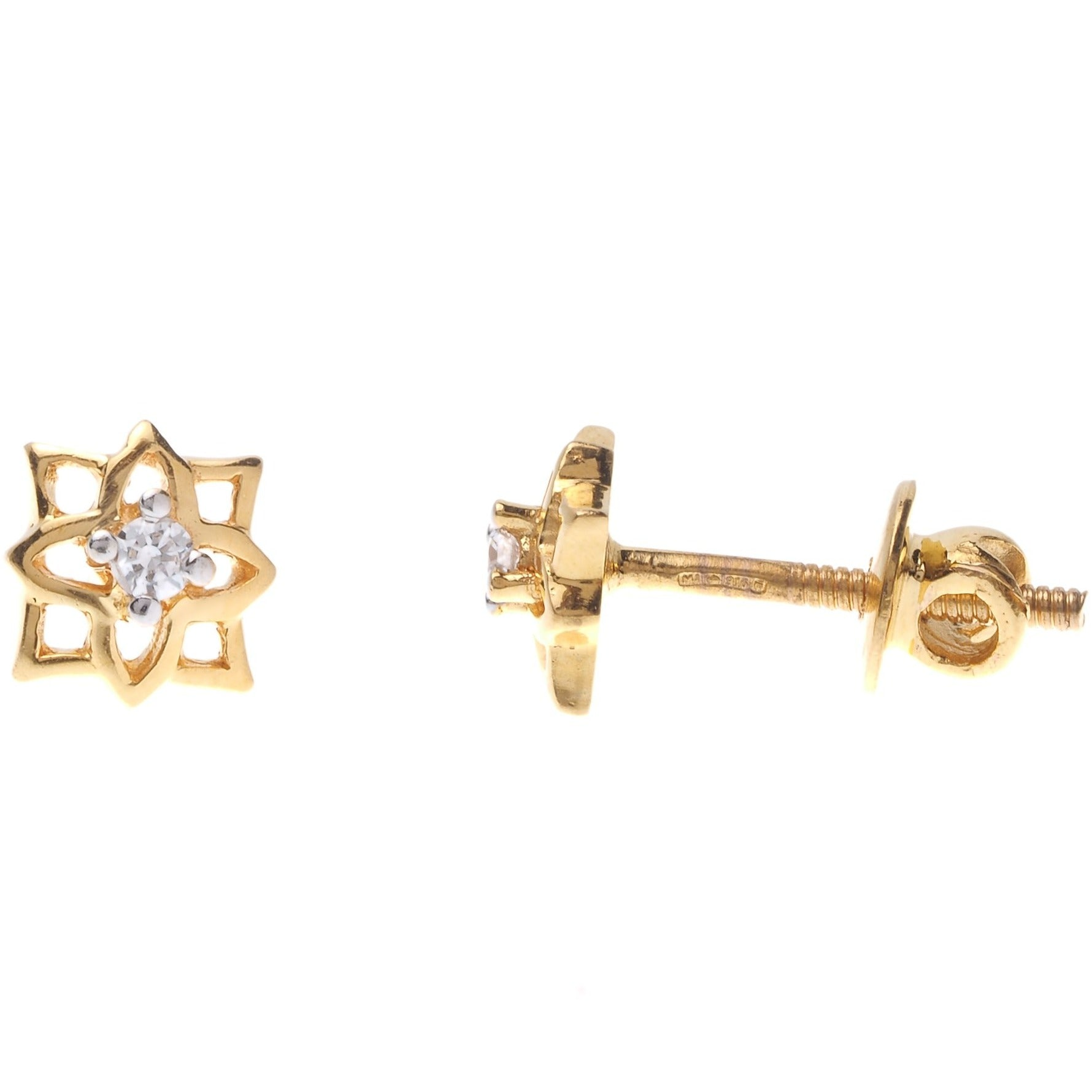 22ct Gold Swarovski Zirconia Stud Earrings (1.89g) ET7002