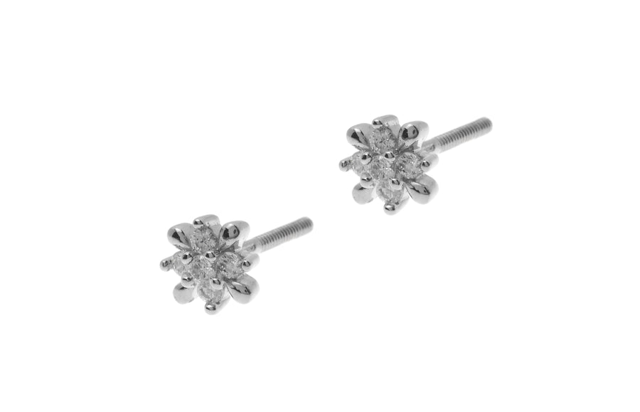 18ct White Gold Earrings set with Cubic Zirconia stones (1.66g) (ET7006)