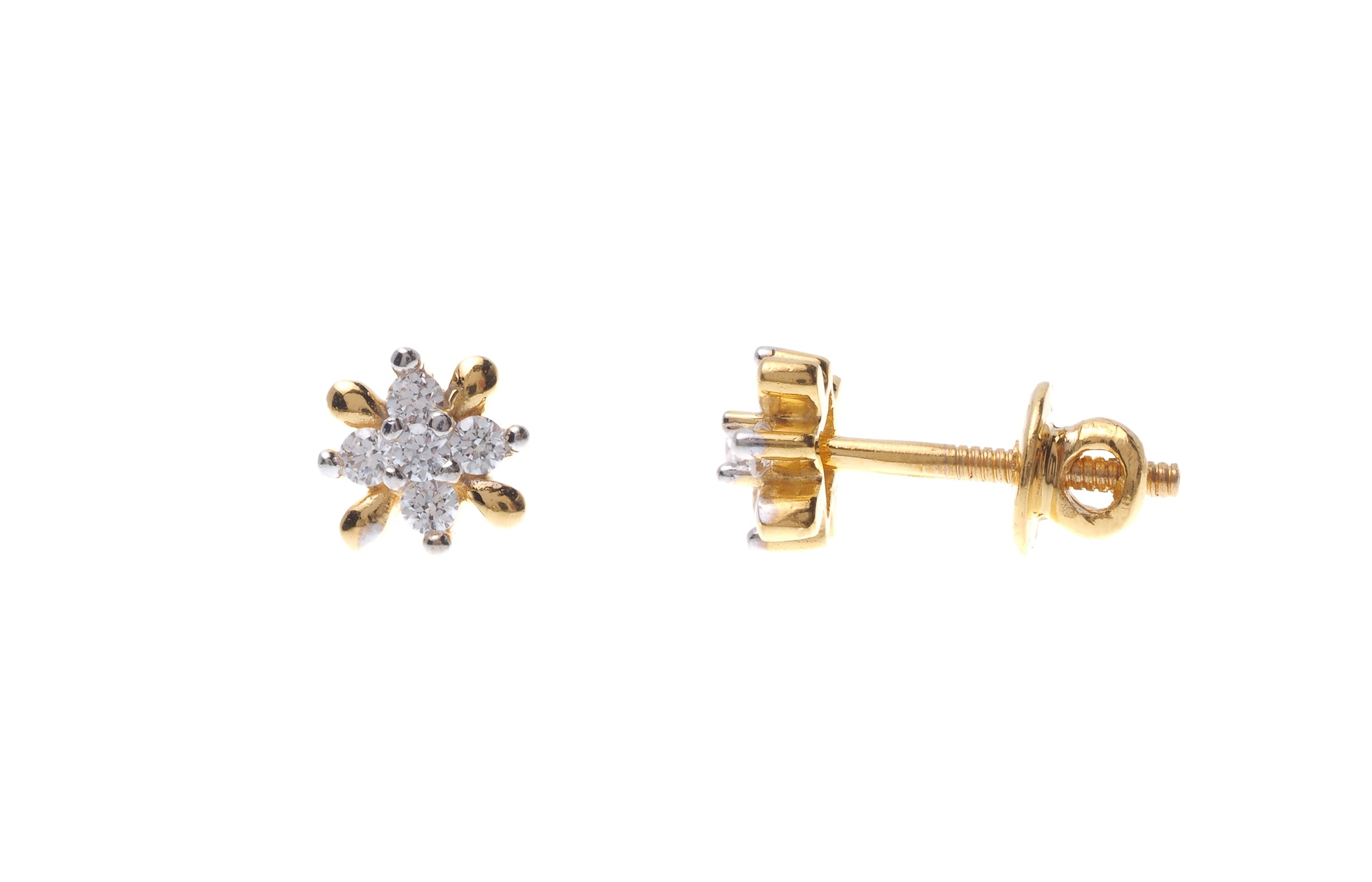22ct Gold Swarovski Zirconia Stud Earrings (2g) ET7006