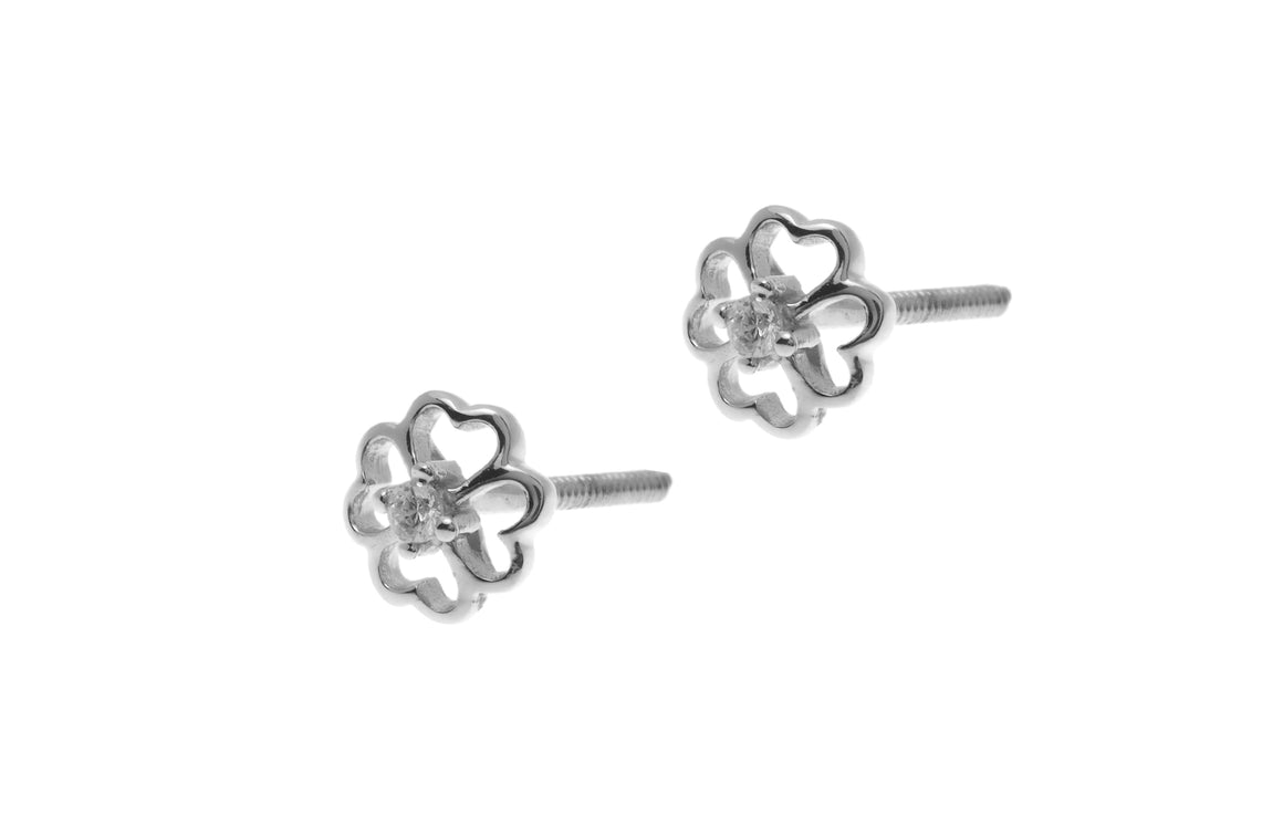 18ct White Gold Earrings set with Cubic Zirconia stones (ET7007)