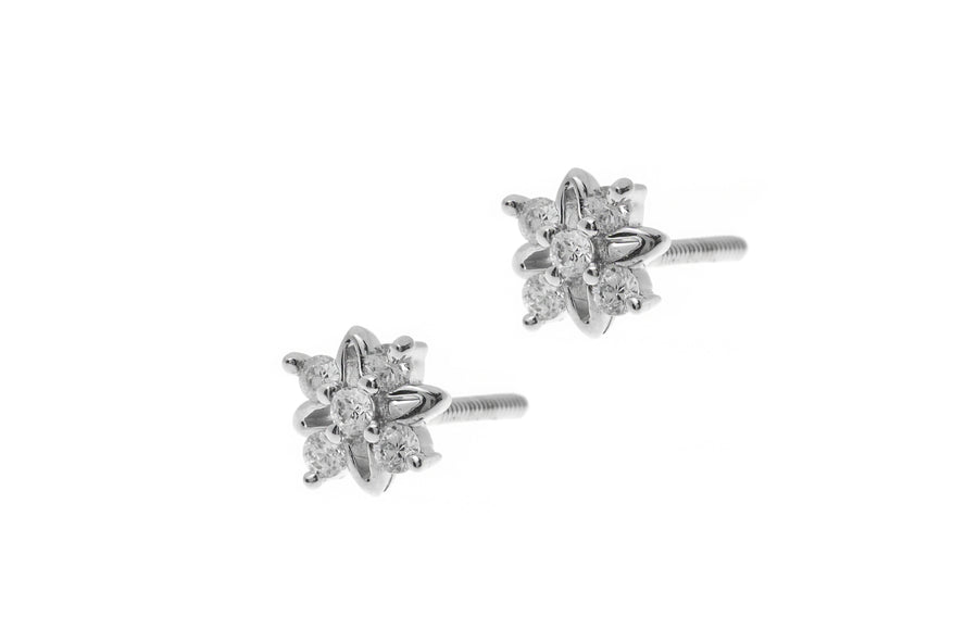 18ct White Gold Earrings set with Cubic Zirconia stones (1.68g) (ET7009)