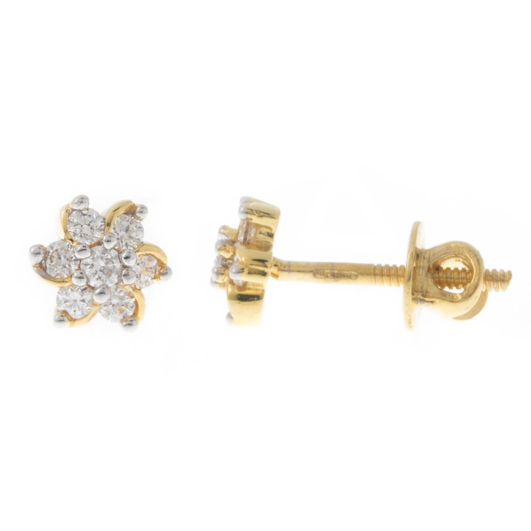 22ct Gold Stud Earrings with a flower design set with Swarovski Zirconias (1.75g) ET7011