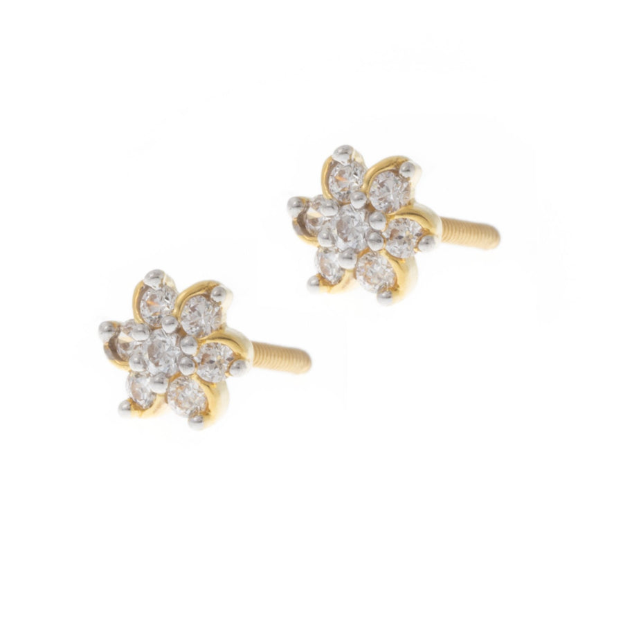 22ct Gold Stud Earrings with a flower design set with Swarovski Zirconias (1.83g) ET7011