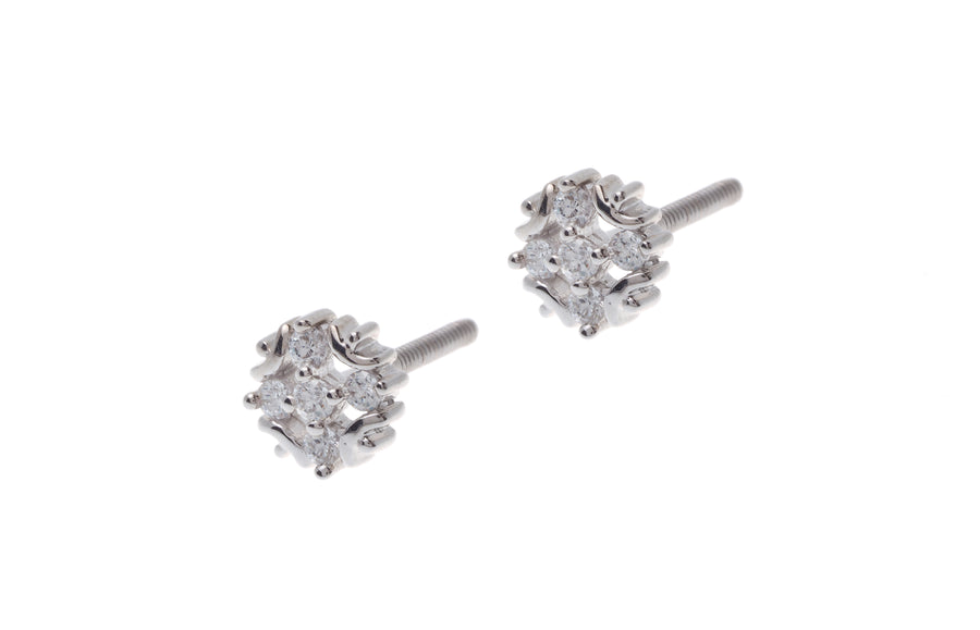 18ct White Gold Earrings set with Cubic Zirconia stones (1.73g) (ET7012)