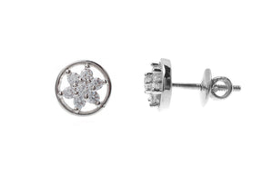 18ct White Gold Earrings set with Cubic Zirconia stones (2.84g) (ET7043)