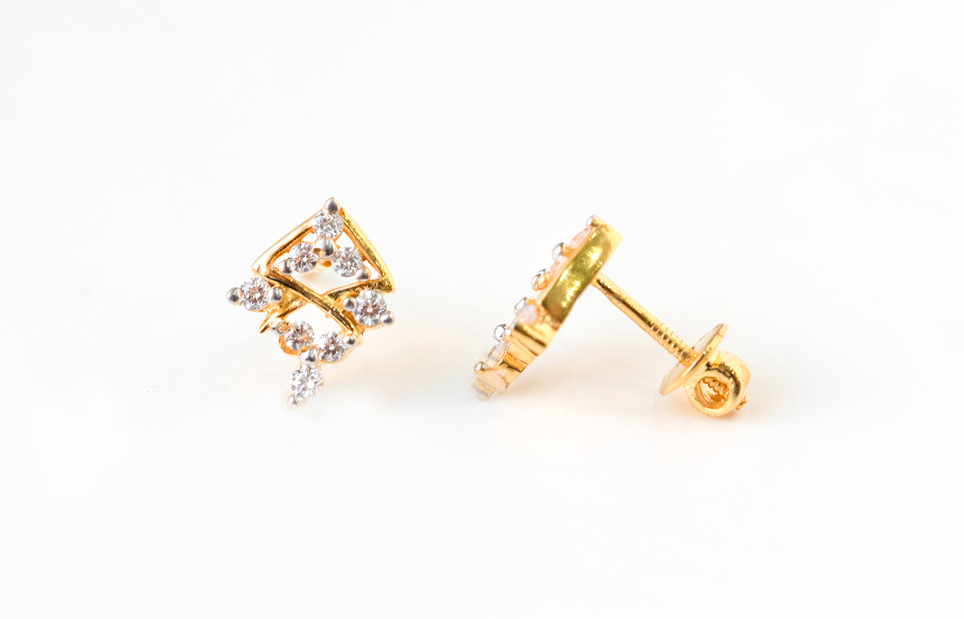 22ct Gold Stud Earrings set with Swarovski Zirconias (2.91g) ET7050