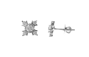 18ct White Gold Earrings set with Cubic Zirconia stones (ET7064)