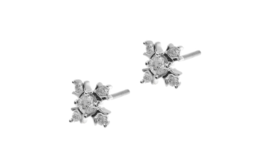 18ct White Gold Earrings set with Cubic Zirconia stones (2.99g) (ET7064)