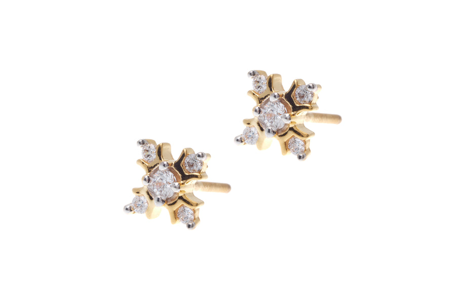 22ct Gold Cubic Zirconia Stud Earrings (3.12g) ET7064
