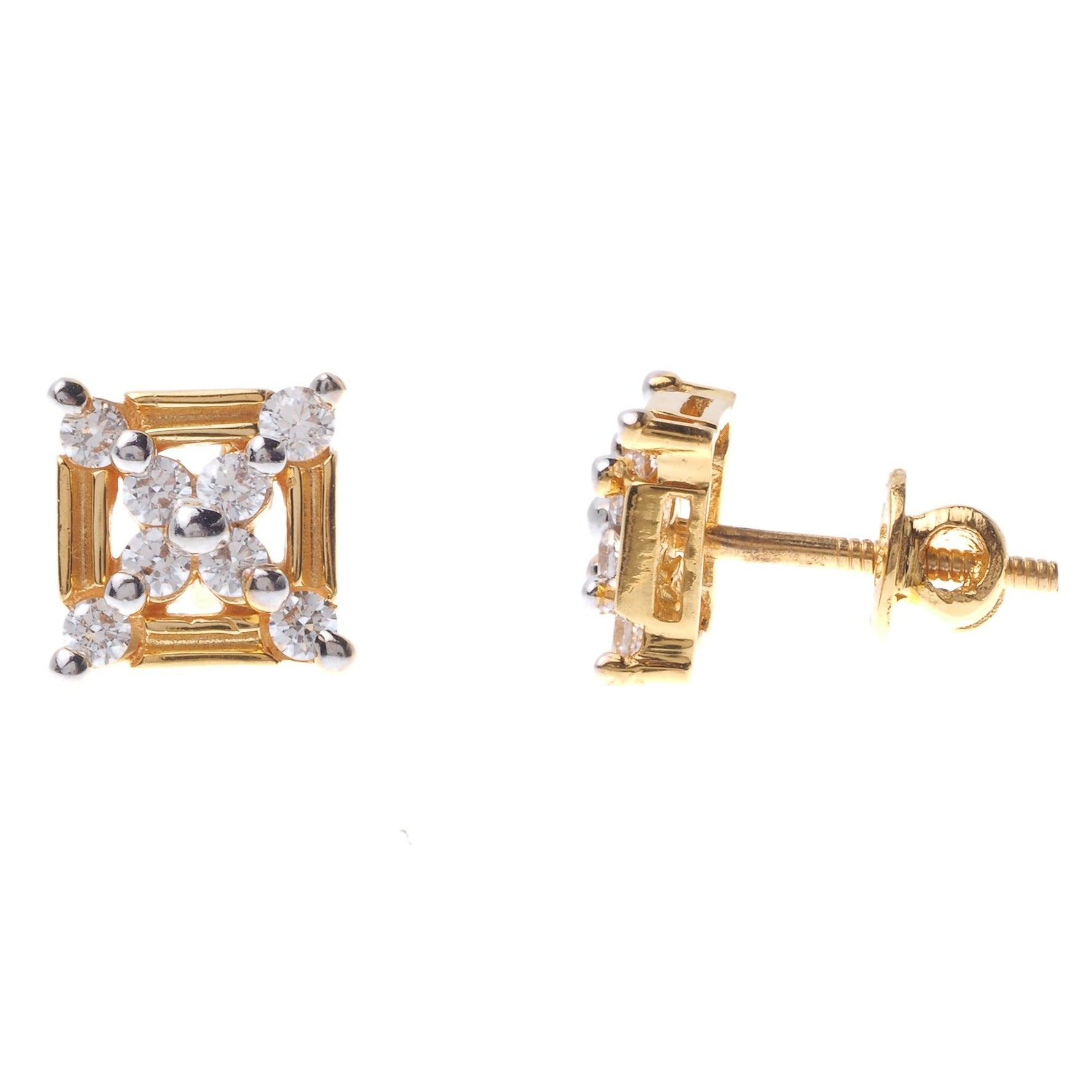 22ct Gold Stud Earrings set with Swarovski Zirconias (3.23g) ET7101