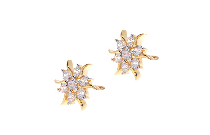 22ct Gold Cubic Zirconia Stud Earrings ET7146