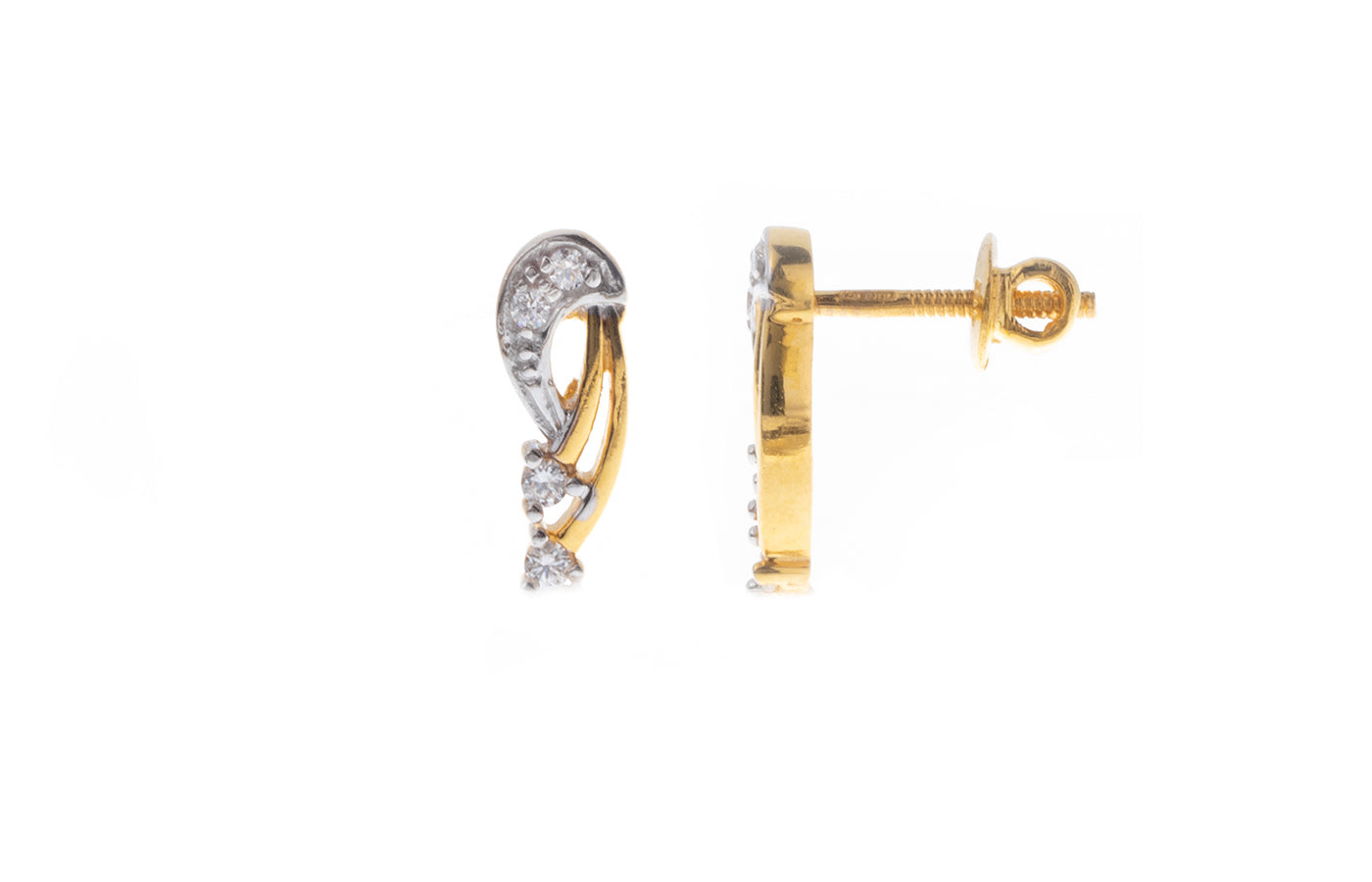 22ct Gold Stud Earrings set with Swarovski Zirconias (3.19g) ET7190