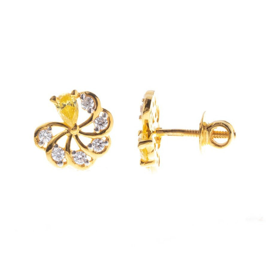 22ct Gold Stud Earrings set with Swarovski Zirconias and Yellow Stones (3.81g) ET7227