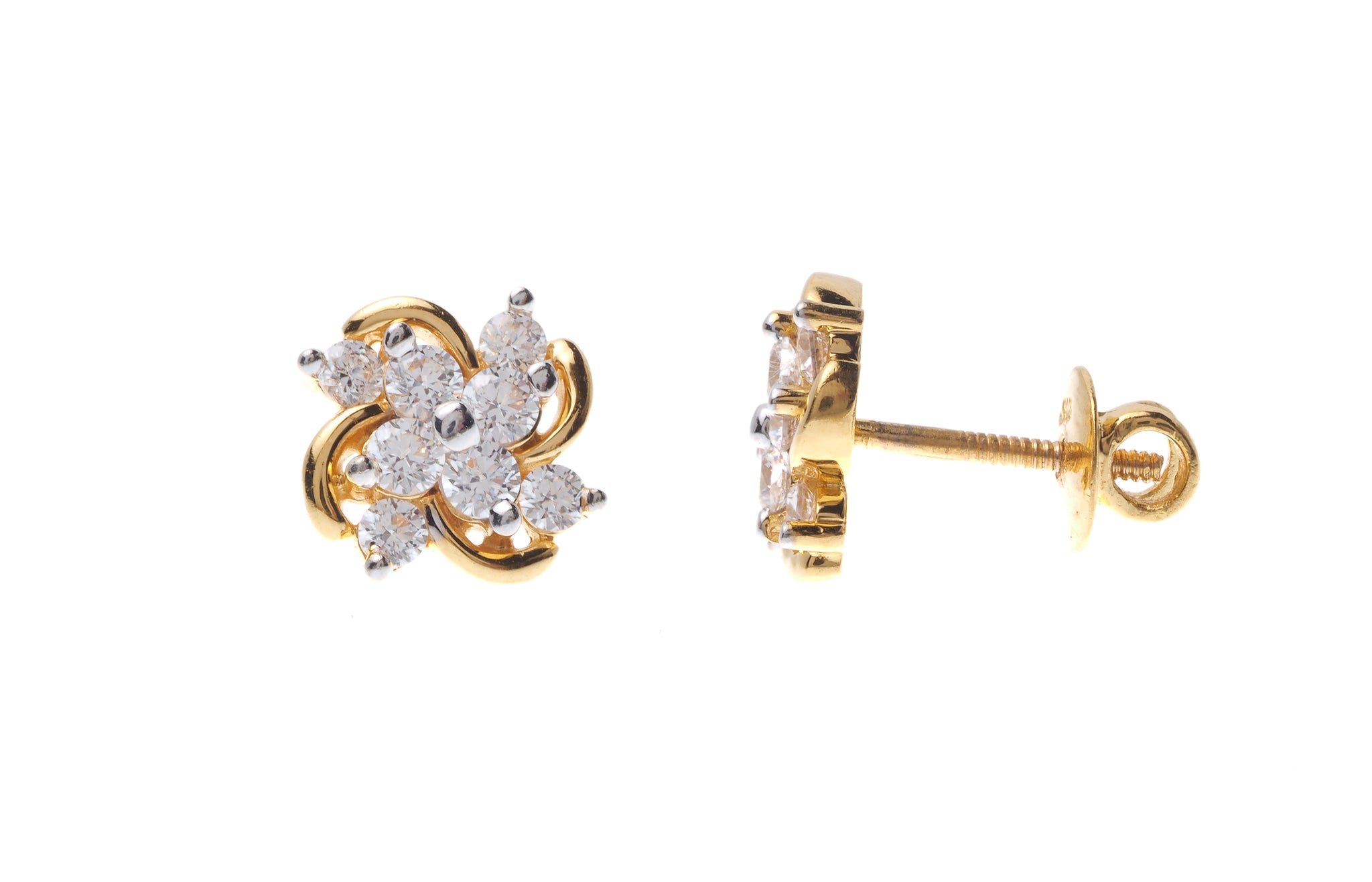 22ct Gold Cubic Zirconia Stud Earrings (4.42g) ET7285