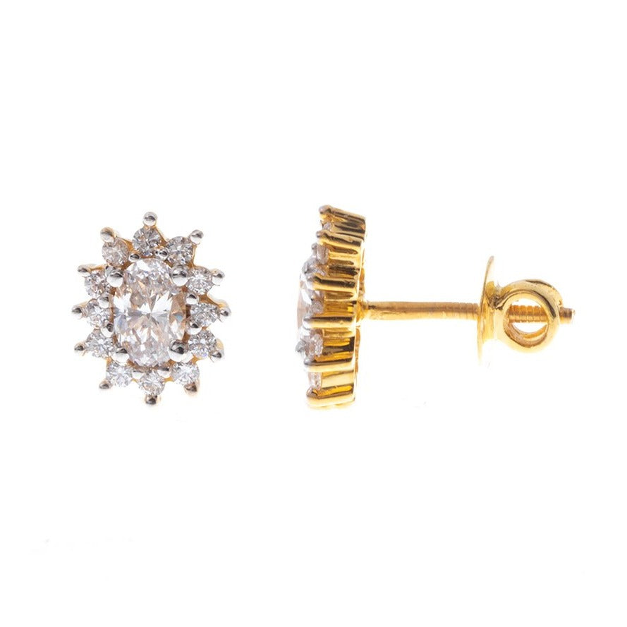 22ct Gold Stud Earrings set with Swarovski Zirconias (4.25g) ET7296