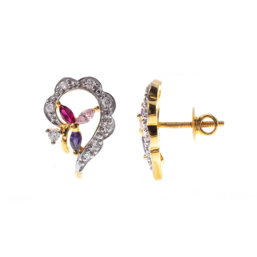22ct Gold Stud Earrings set with Swarovski Zirconias and Multi-Coloured Stones (5.45g) ET7419