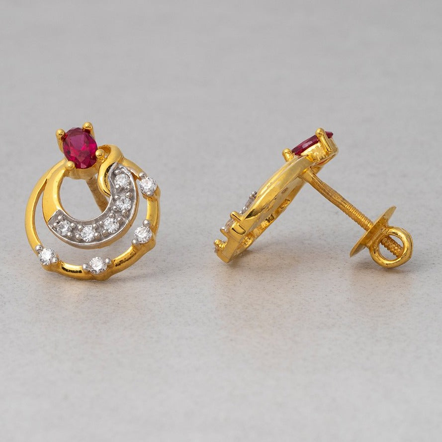 22ct Gold Stud Earrings set with Swarovski Zirconias and Red Stones (4.65g) ET7473
