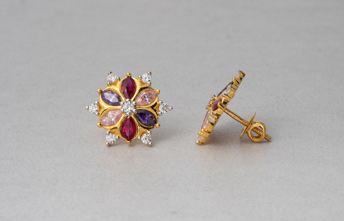22ct Gold Stud Earrings set with Swarovski Zirconias and Multi-Coloured Stones (5.98g) ET7586