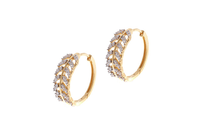 22ct Gold Hoop Earrings set with Swarovski Zirconia stones (7.3g) ET7999