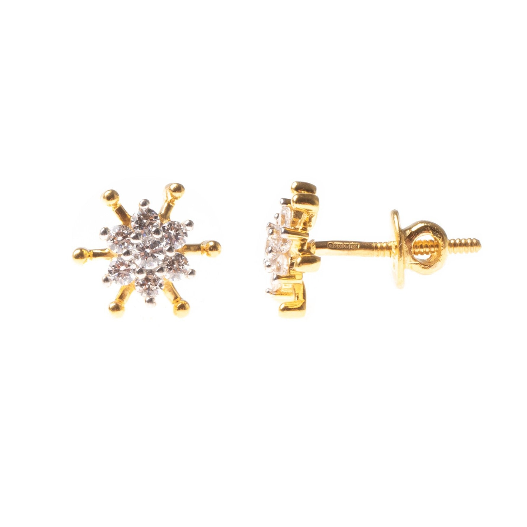 22ct Gold Swarovski Zirconia set Ear Studs (2.38g) ET9009