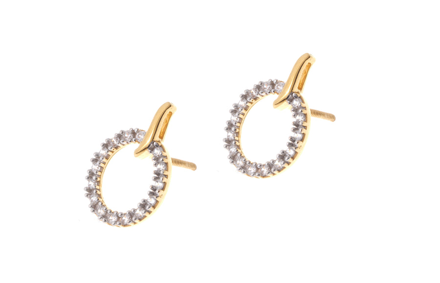 22ct Gold Cubic Zirconia Stud and Hoop Earrings (4.51g) ET9039